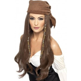 Ladies Pirate Wig Wigs - (Brown)