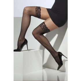 Ladies Fishnet Hold-Ups Tights - (Black)