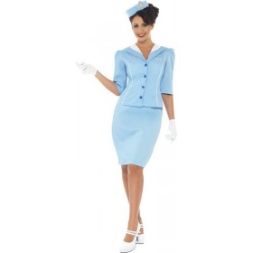 Ladies Air Hostess Costume Pilot/Air Outfit (Blue)