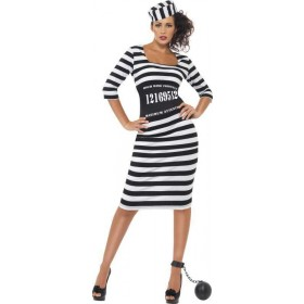 Ladies Classy Convict Costume Cops/Robbers Outfit (Black)