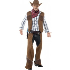Mens Fringe Cowboy Costume Cowboys/Indians Outfit (Brown)