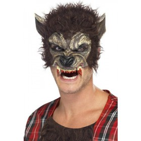 Mens Werewolf Half Face Mask Halloween Masks - (Brown)