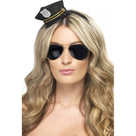 Ladies Mini Cop Hat Hats - (Black)
