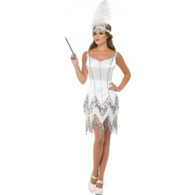 Ladies Fever Flapper Dazzle Costume 1920'S Outfit (White)