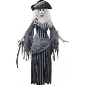 Ladies Ghost Ship Princess Costume Halloween Outfit (Grey)