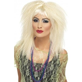 Ladies 80'S Trademark Crimp Wig Wigs - (Blonde)