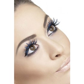 Eyelashes Spiderwebs With Glitter Eyelashes - (Blue)