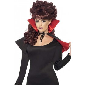 Ladies Mini Vamp Cape Halloween - (Red, Black)