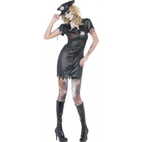 Ladies Fever Zombie Cop Costume Halloween Outfit (Black)