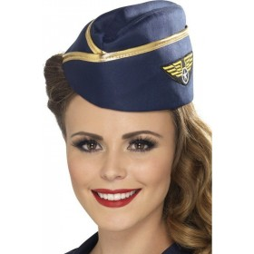 Ladies Air Hostess Hat Hats - (Blue)