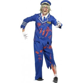 Mens Zombie Pilot/Captain Costume Halloween Outfit (Blue)