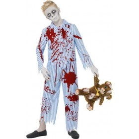 Boys Zombie Pyjama Boy Costume Halloween Outfit (Blue)
