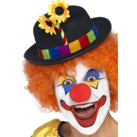 Clown Bowler, Black, With Multi Colour Band And Flower
