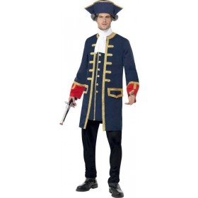 Mens Pirate Commander Costume Pirates Outfit (Blue)