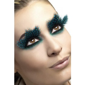 Eyelashes, Large Feather With Aqua Dots Eyelashes