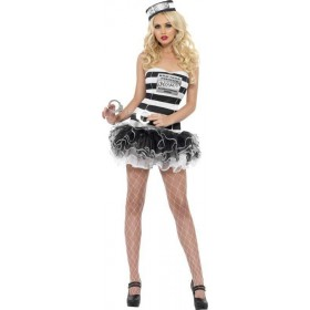 Ladies Fever Convict Cutie Costume Cops/Robbers Outfit