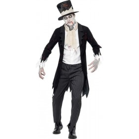 Mens Till Death Do Us Part Zombie Groom Halloween Outfit (Black)