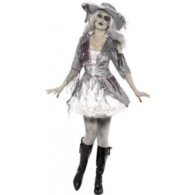 Ladies Ghost Ship Pirate Treasure Halloween Outfit (Grey)