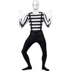 Mens Mime Second Skin Costume Halloween Outfit