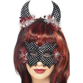 Ladies Devildina Mask And Horns Set Halloween Eyemasks - (Black, Silver)