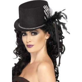 Ladies Top Hat Halloween Hats - (Black)