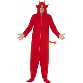 Mens Devil Costume Halloween Outfit (Red)