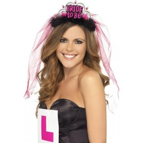 Ladies Bride To Be Tiara With Veil Hen & Stag - (Black)