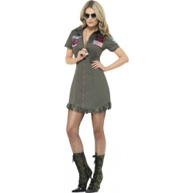 Ladies Top Gun Deluxe Female Costume Film Outfit (Green)