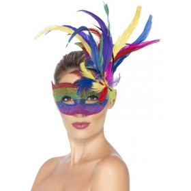 Unisex Feathered Carnival Eyemask Fancy Dress Accessory