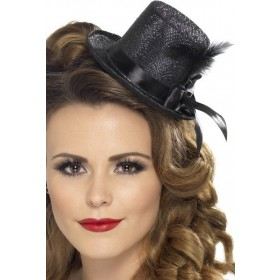 Ladies Mini Tophat Hats - (Black)
