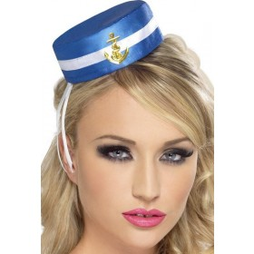 Pill Box Sailor Hat Hats - (Blue)