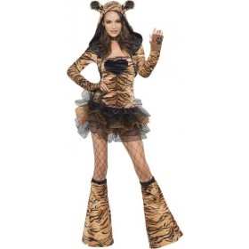 Ladies Fever Tiger Costume Animal Outfit (Animal Print)