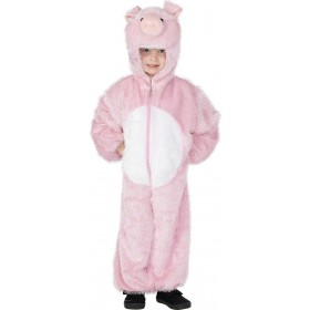 Pig Costume Age 4-6 Pink With Hood Plush (Animals)