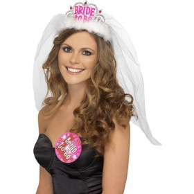 Ladies Bride To Be Tiara With Veil - (White)