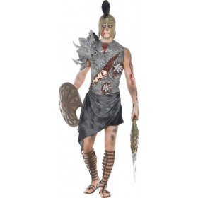 Mens Zombie Gladiator Costume Halloween Outfit (Black)