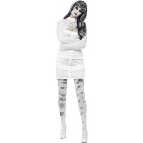 Ladies Psychotic Nympho Costume Halloween Outfit (White)