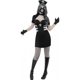 Ladies Nurse Delirium Costume Halloween Outfit (Black)