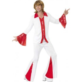 Mens Super Trooper Male Costume Music Outfit (White)