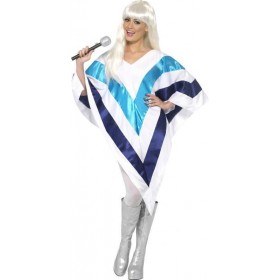 Ladies Super Trooper Cape / Poncho Music Outfit - One Size (White)