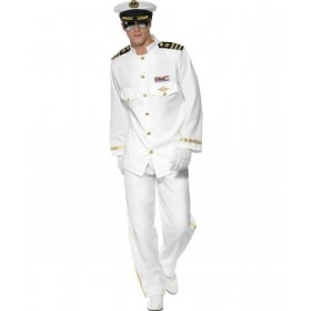 Mens Captain Deluxe Costume Sailor Outfit - Chest 46-48 (White)
