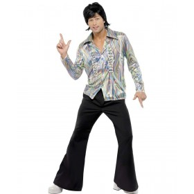 Mens 70S Retro Costume 1970'S Outfit - Chest 46-48 (Black)