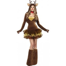 Ladies Fever Reindeer Costume Christmas Outfit