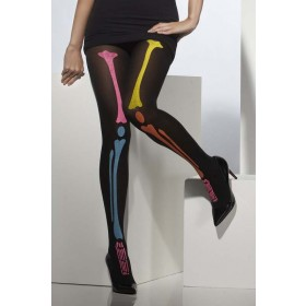 Ladies Neon Colour Print Bone Halloween Opaque Tights