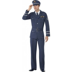 Mens Ww2 Air Force Captain Costume Army Outfit (Blue)