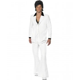 Mens 1970'S Suit Costume 1970'S Outfit - Chest 46-48 (White)