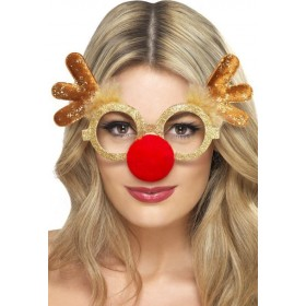 Adult Unisex Reindeer Comedy Specs Christmas Glasses