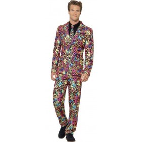 Mens Neon Animal Print Stand Out Suit Fancy Dress Costume
