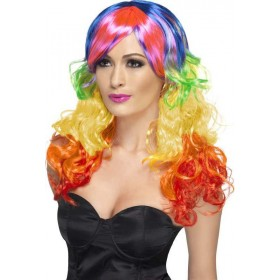 Rainbow Curl Wig Wigs - (Multicolour)