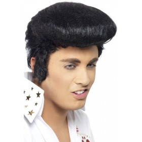 Deluxe Adult Elvis Wig - Fancy Dress Mens (Music) - Black