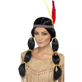 Native American Wig Wigs - (Black)